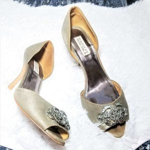 Badgley Mischka Jeweled  Gold D'Orsay Pumps 9